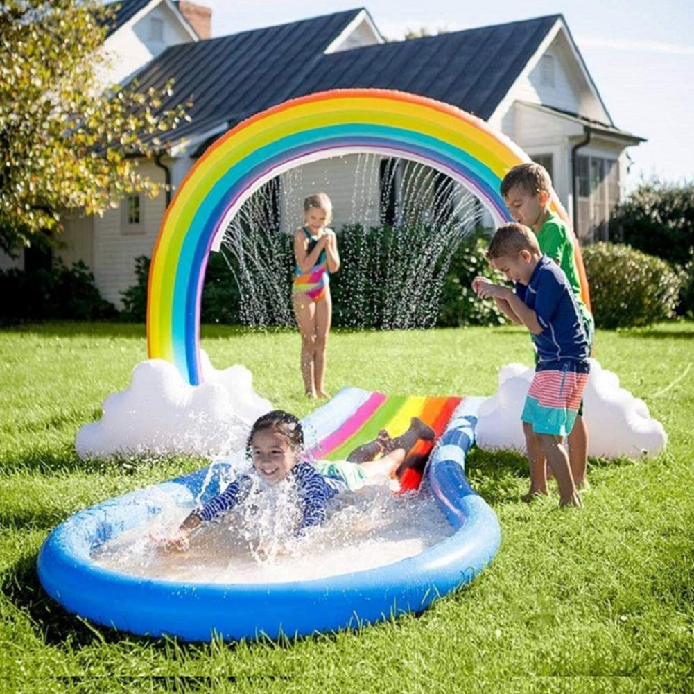 Inflatable Sprinkler Rainbow Cloud Yard Sprinkler Inflatable Archway Lawn Beach Summer Water Spray Summer Outdoor Water Play Toy