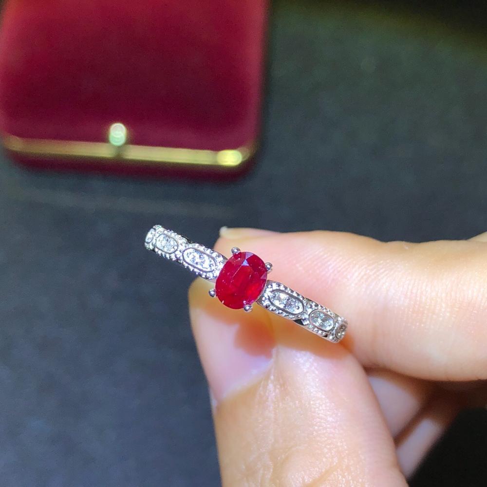 925 argent incrusté naturel pigeon sang rouge rubis anneau se réfère à la taille de la bague réglable pierre principale taille 4*5mm 925 bague en argent - 4