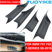 Maçaneta da porta interior do carro preto creme de fibra de carbono para bmw f01 f02 7-series frente traseira esquerda direita painel interno puxar guarnição capa barra