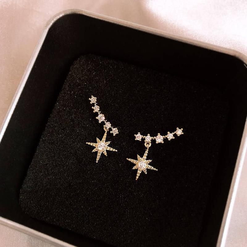 Женские асимметричные серьги в Корейском стиле со звездами, блестящие стразы, вечерние ювелирные изделия для путешествий