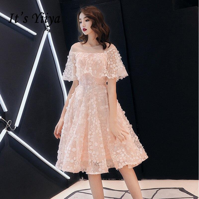 Prom Dresses Pink It's Yiiya R230 Elegant Appliques Knee Length Formal Gowns 2020 Ruffles O-neck A-line Vestidos De Fiesta