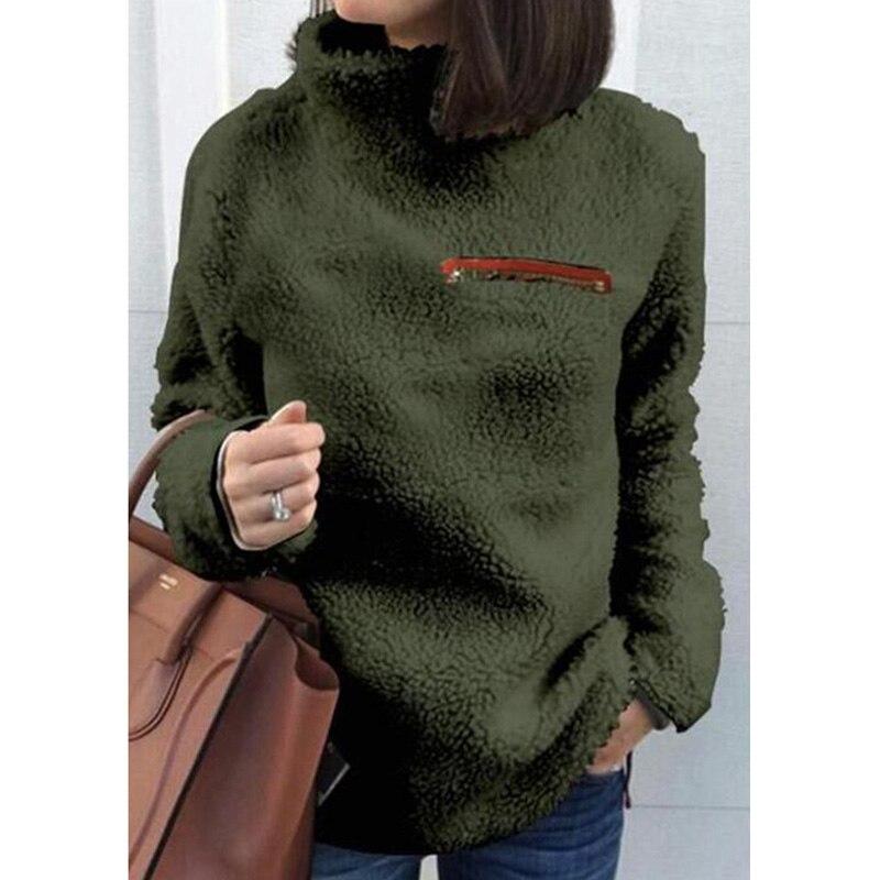 Damen Warm Langarm Pullover Lady Sweatshirt Jumper Fluffy Plüsch Pullover Tops