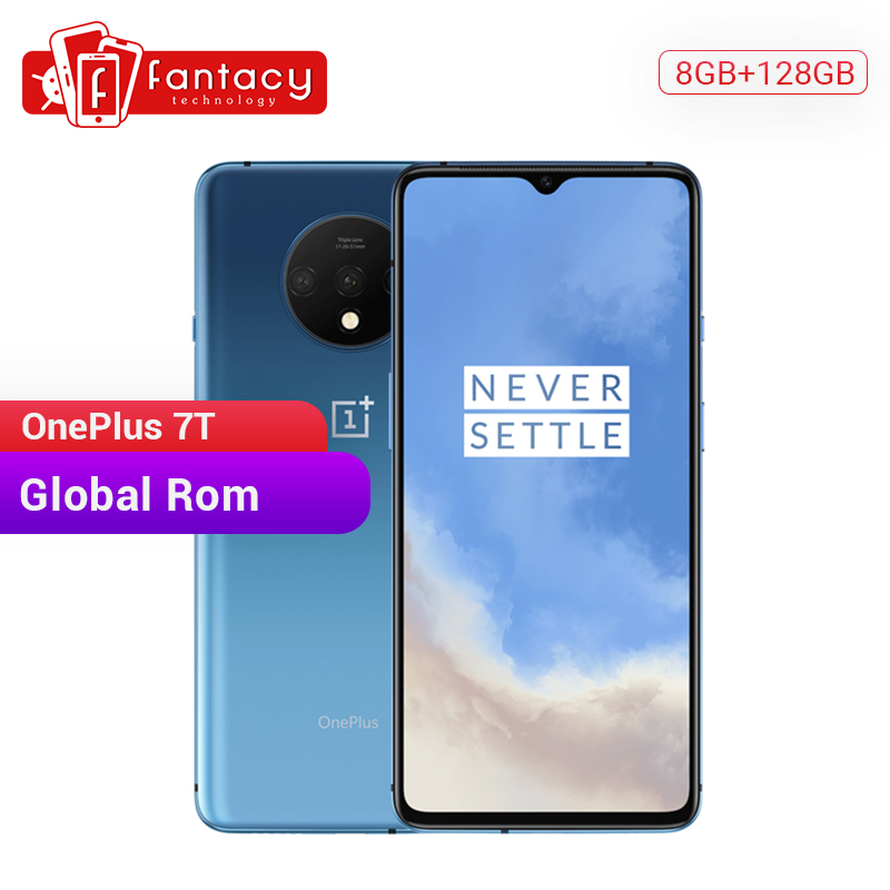 Em estoque rom global oneplus 7 t 8 gb 128 gb smartphone snapdragon 855 mais octa núcleo 90 hz amoled tela 48mp triplo câmeras nfc