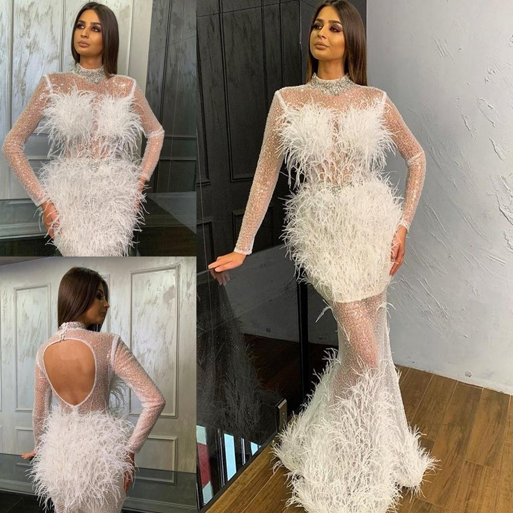 2020 Sparkly Mermaid Prom Dresses High Neck Lace Feather Crystal Long Sleeve Evening Dress Custom Made Sexy Robes De Mariée