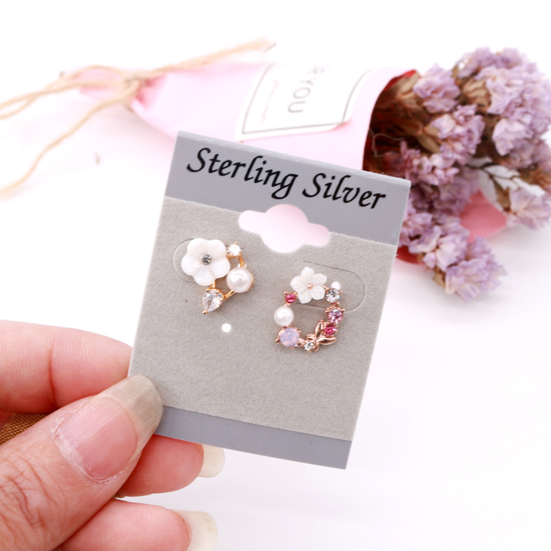 Wholesale 500pcs/lot New Gray Velvet Plastic Earrings Display Cards 4x5cm Sterling Silver Ear Studs DIY Jewelry Packing Cards