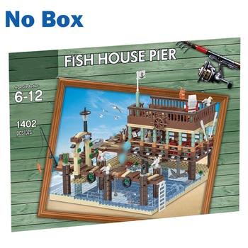 MOC City Idea Series 1402Pcs Small Particle 3D Street View Fish House Pier Building Blocks DIY Assembly Construction kids Kits