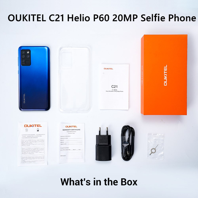 OUKITEL 4G C21 Smartphone Octa Core 4G+64GB 4000mAh Mobile Phone Selfie 6.4'' FHD+ Hole Punch Screen 20MP Quad Camera Phone 6
