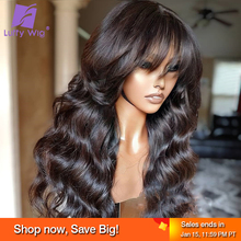 Wavy Human Hair Wigs With Bangs Brazilian Remy Hair Scalp Top Machine Made Wig Glueless 200% Density Wig For Black Women Luffy