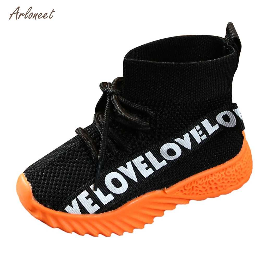 Children Snow Boots Girls Shoes Winter Boots Fashion Plush Kids Shoes Students Letter Stretch Run Sneakers Children Boots 2019