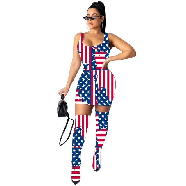 Sexy Fashion Women Mini Dress Included Knee Socks Digital Floral Printed American Flag Dollar Summer Outfits Club Party Sundress 2