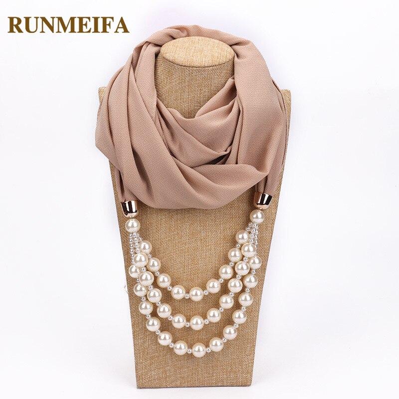 RUNMEIFA Multi style Decorative Jewelry Necklace Pendant Chiffon Scarf Women Foulard Femme Accessories Hijab Free Shipping|Women