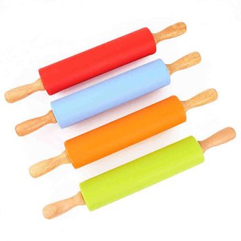 Non-Stick Wooden Handle Silicone Rolling Pin Pastry Dough Flour Roller Kitchen Baking Cooking Tools Christmas Rolling Pin stamping brayer art clay tools for craft 3 5x8x11cm non stick roller pin clay roller pottery rolling pin modelling tool