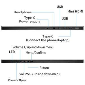 Image 4 - شاشة محمولة 15.6 بوصة LCD USB نوع C Hdmi شاشة عرض ألعاب ips 1080p HD عرض ل PS4 كمبيوتر محمول الهاتف Xbox التبديل الكمبيوتر مع حافظة