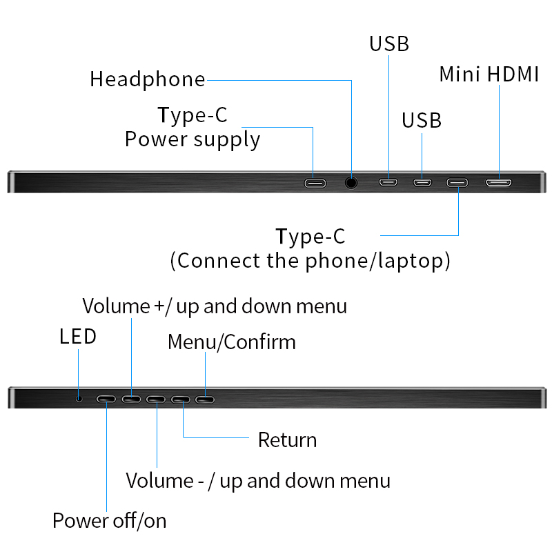 Monitor portátil 15,6 LED USB tipo C monitor de juegos Hdmi pantalla HD ips 1080p para teléfono portátil PS4 interruptor Xbox con funda - 5