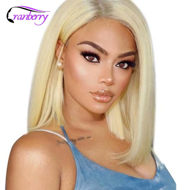 613 Bob Wig Straight Lace Front Wig Remy Malaysian Straight Bob Wig Cranberry Bob Lace Front Human Hair Wigs Blonde Preplucked image