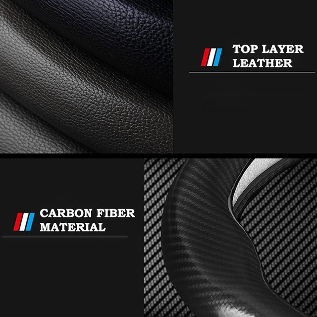 Car Carbon Fiber Steering Wheel Cover 38cm for BMW All Models 1 2 3 4 5 6 7 Series Auto Interior Accessories Car styling 4