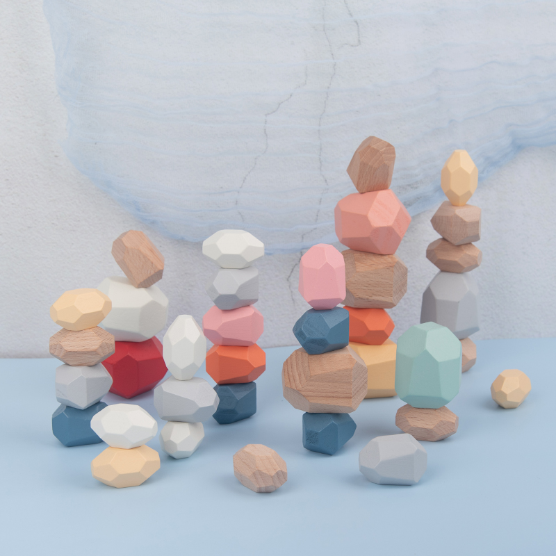 Tumi Ishi ahşap dengeleme yığılmış taşlar gökkuşağı seti renkli oyunları ahşap kayalar ahşap taşlar yapı taşı Montessori oyuncaklar