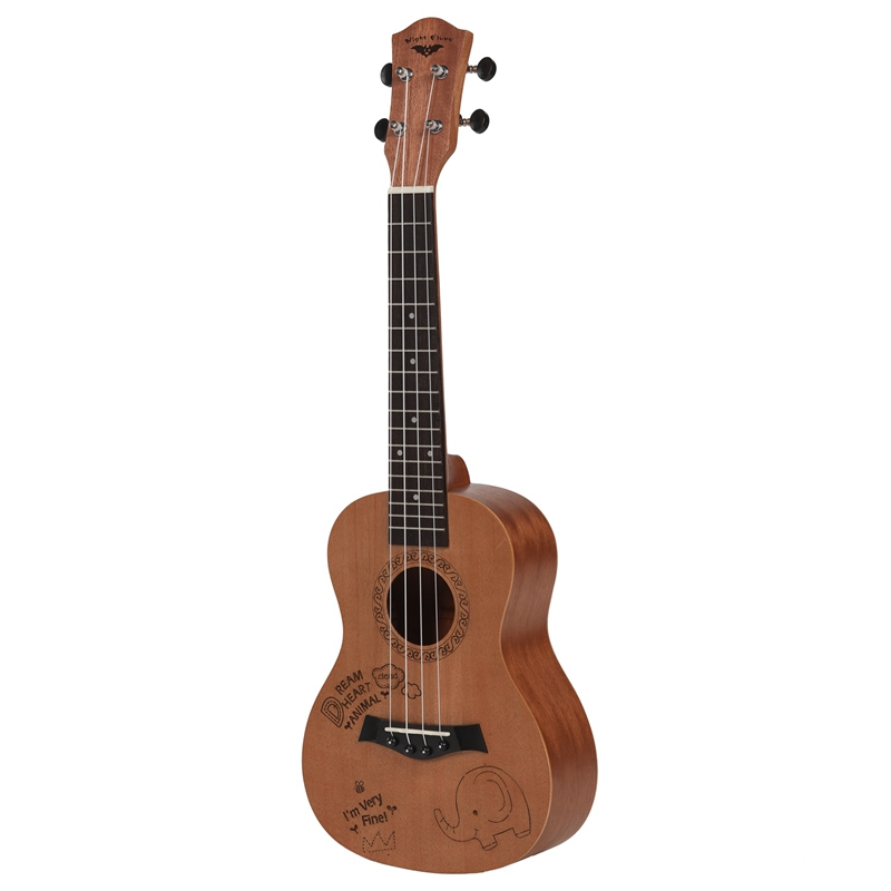 Concert Ukulele 23 Inch Oguman Ukelele 23 inch Uke 4 String Hawaii Guitar with Rosewood Fingerboard Classical Guitar Head Elepha