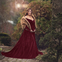 2019 Gold velvet Maternity Dress Photography Props For Autumn and winter Women Maxi Maternity Gown Clothes For Photo Shoots