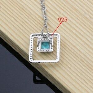 Image 5 - 925 argent Birdal Dubai bijoux ensembles Hyperbole bleu Zircon pierre pour les femmes fête boucles doreilles/pendentif/collier/anneaux