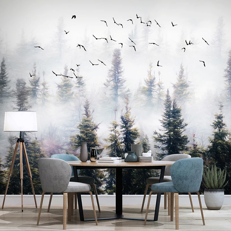 Custom Photo Hand Painted Forest Clouds Flying Birds Oil Painting Bedroom Study Living Room Sofa TV Background Mural Wall Paper