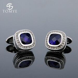 TOMYE французская рубашка с синими кристаллами и манжетами, свадебное платье, роскошные ювелирные изделия из чистой меди для мужчин и женщин ...