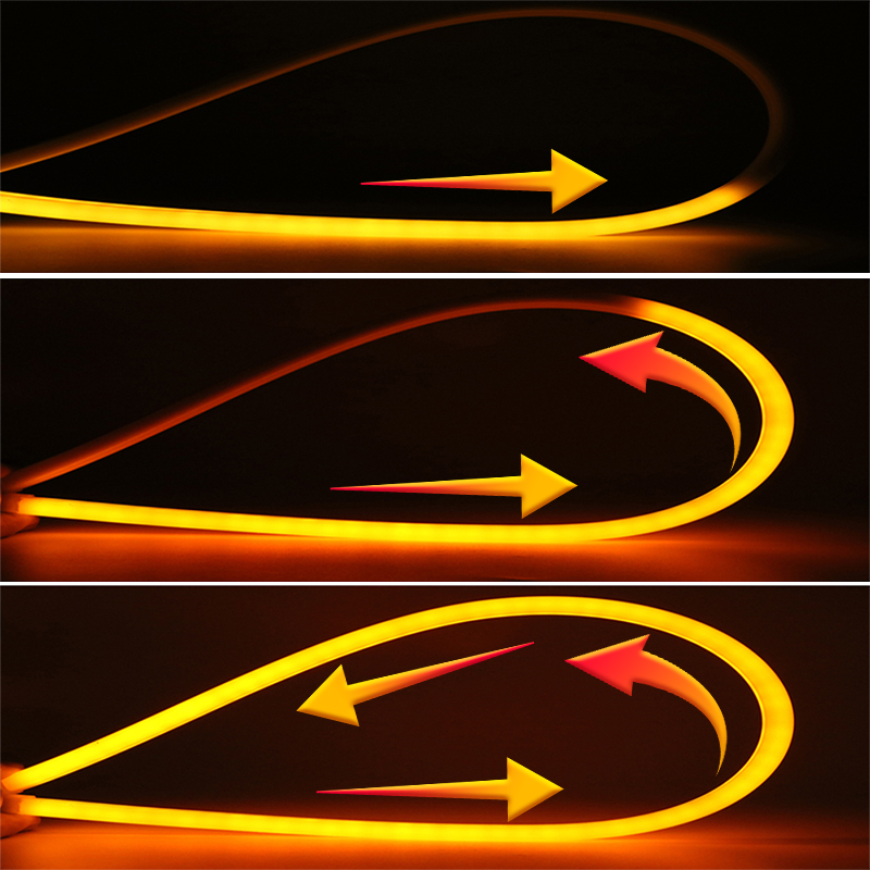 2pcs For <font><b>Ford</b></font> Ranger <font><b>Focus</b></font> 2 3 4 Fiesta Mk2 <font><b>Mk3</b></font> Mondeo Mk4 Fusion Car Flexible DRL Daytime Flow Strip Light Turn Signal Light image