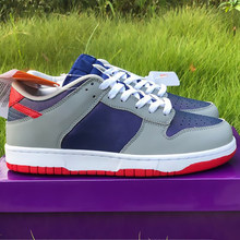 2020 newest Dunks Low Sambas skateboarding shoes Japans Silver navy blue leather man woman fashion leisure shoes no box(China)