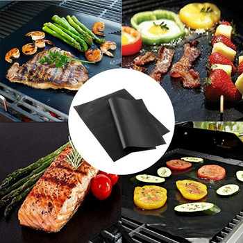 Reusable Portable Non-Stick BBQ Grill Mat/Cooking Clamp Heat Resistance Outdoor Travel Camping Picnic Kitchen Tool image