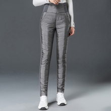 Winter Women Pants 2019 Down High Waist Thickening Black Silver Duck Pencil For plus Size Female