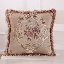 Funda de almohada Jacquard Vintage Europea funda de cojín 45x45cm funda de almohada decorativa suave para el hogar 48x48cm borlas rojas marrón marfil