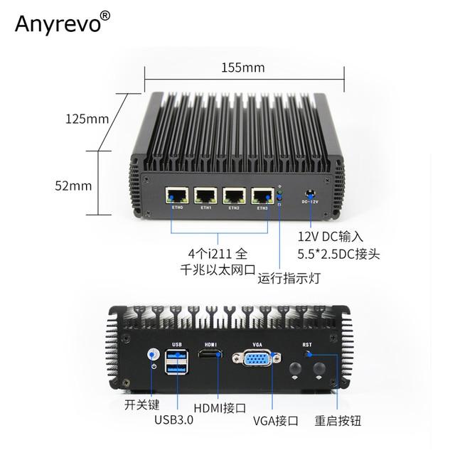 Fanless Soft Router Intel Celeron J3455 Quad Core Mini PC with VGA HD-MI 4 Intel Gigabit LAN for pfSense firewall AES-NI 2
