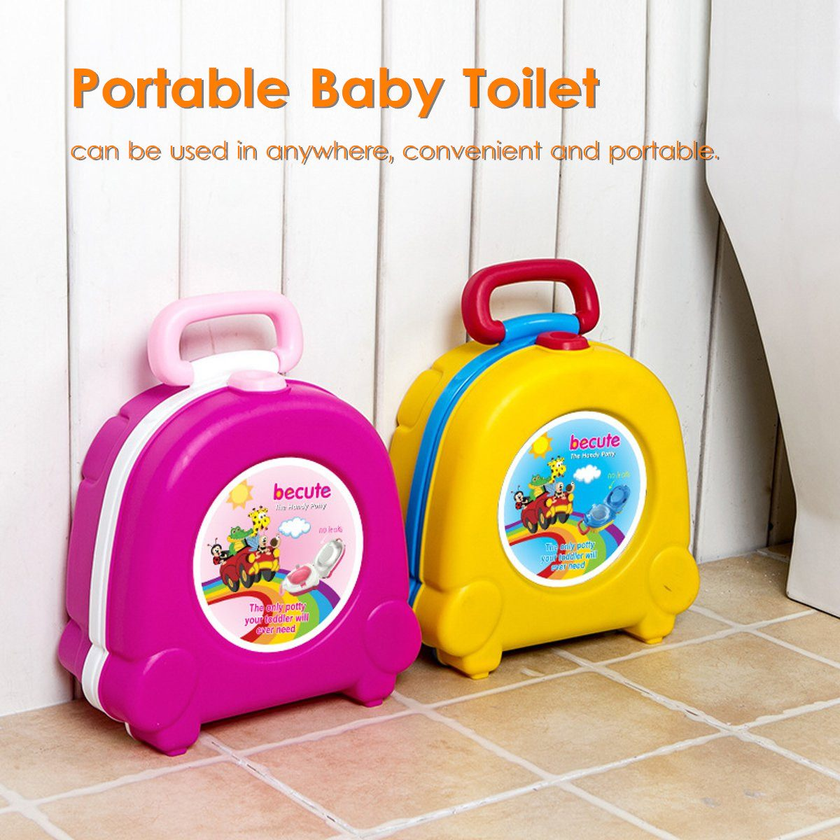 Portable Baby Toilet Children Toddler Urinal Training Travel Folding Potty Seat Outside Travel Car Infants Toilet Pink/Yellow