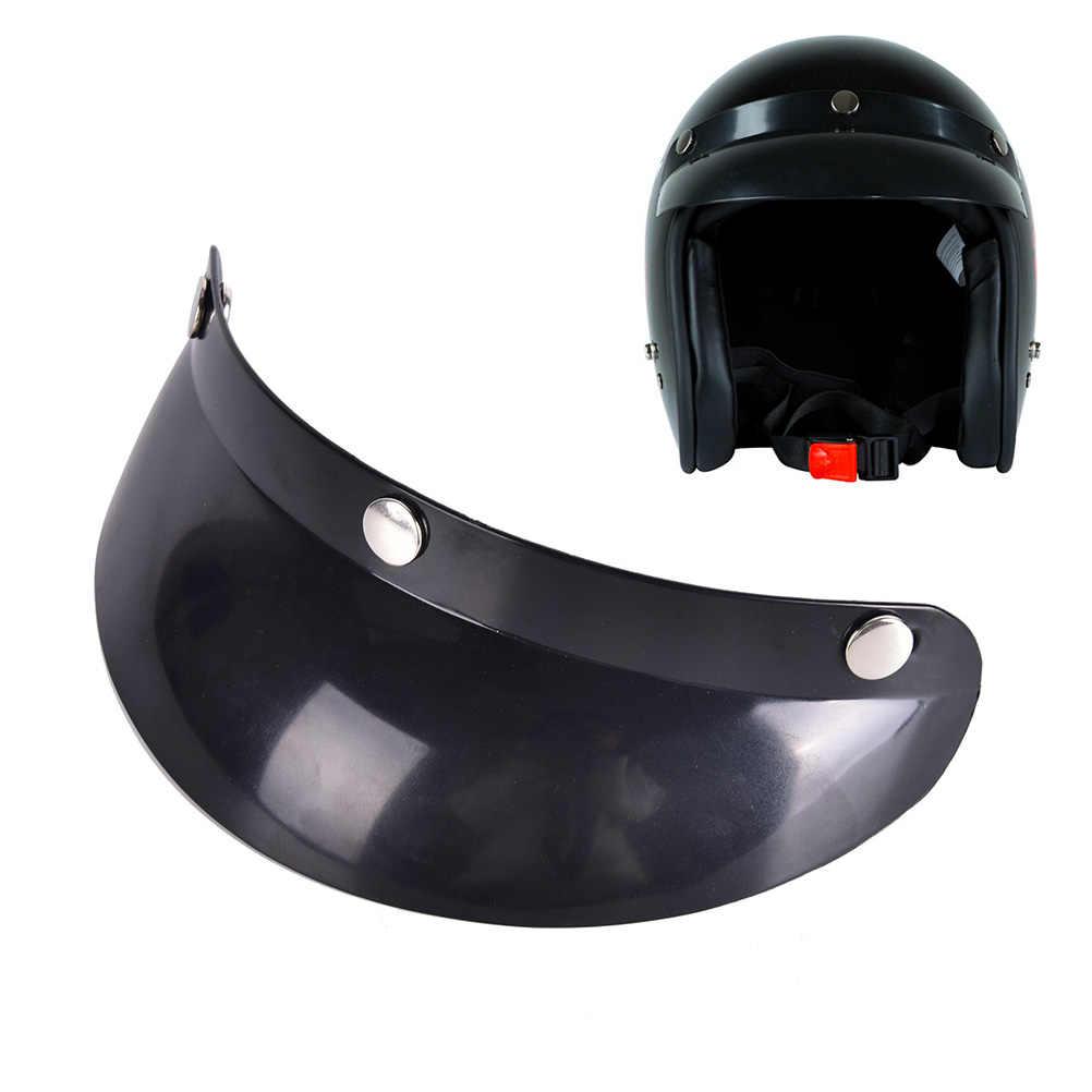 Vintage 3-Snap Motorcycle Hat Shield Visor Shade Sun Face Open Lens Peak