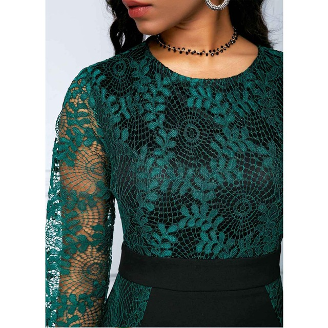 Autumn Winter Dress Women 2019 Casual Plus Size Slim Office Bodycon Dresses Vintage Elegant Sexy Lace Long Mermaid Party Dress 6
