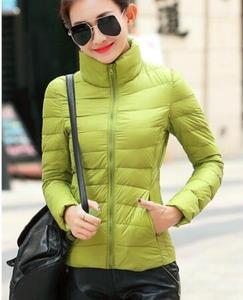 Image 2 - 겨울 여성 울트라 라이트 다운 재킷 % 95 화이트 오리 후드 자켓 긴 소매 따뜻한 코트 파카 여성 솔리드 휴대용 아웃웨어