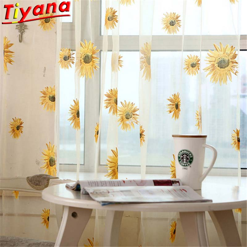 Sunflower Printed Curtain Tulle For Kitchen Yellow Flower Sheer Voile For Living Room Balcony Kid's Room Cheaper Panel HM125#30