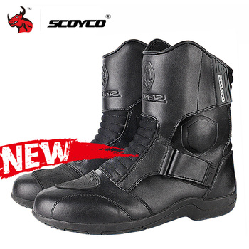 Scoyco Motorcycle Boots Men Motorcycle Shoes Microfiber Leather Moto Motocross Boots Protective Motorbike Riding Boots Black
