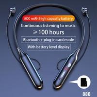 Auriculares inalámbricos con Bluetooth, audífonos con sonido HiFi magnético de succión, estéreo, inalámbrico de deporte con micrófono HD, 100 horas