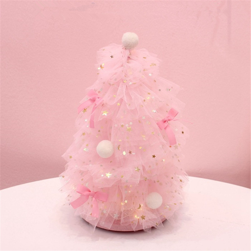 INS Girl Heart Desktop Decoration Pink Dreaming Christmas Tree Night Light Home Desktop Small Decoration Gift QW267 (1)