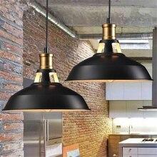 Industrial Vintage colgante luz decorativa de acero Base de la lámpara de montaje de luz clásica techo de hierro negro colgante de luz 27cm
