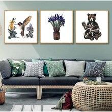 Desenhos animados pássaro urso animal nordic arte cartaz da lona minimalista impressão flor e plantas parede imagem moderna casa crianças quarto decoração