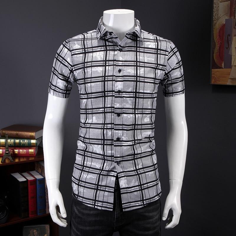 New Model Shirts Plaid Casual Blouse Man Summer Social Shirt Short Sleeve