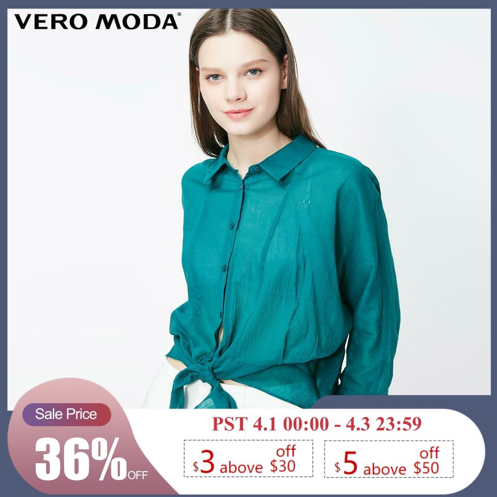 Vero Moda Women's 100% Cotton 3/4 Sleeves Turn-down Collar Shirt | 319231525