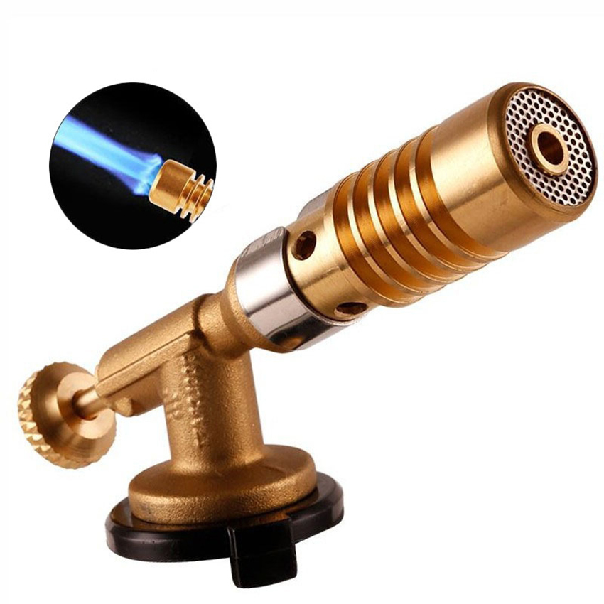 Brass Gas Torch Fire Maker Lighter, Adjustable Flame, Portable Outdoor BBQ Camping Cooking Torch Welding Soldering Torch