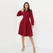 Для женщин Винтаж пояса элегантные трапециевидные вечерние платья с отложным воротником и длинным рукавом, Однотонная повседневная обувь платье Новинка зимы, модное платье