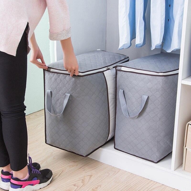 Одежда Сумки для хранения стеганых одеял серый нетканый материал багажная сумка Одеяло Одежда Органайзер Shorage большой размер может быть в сложенном виде