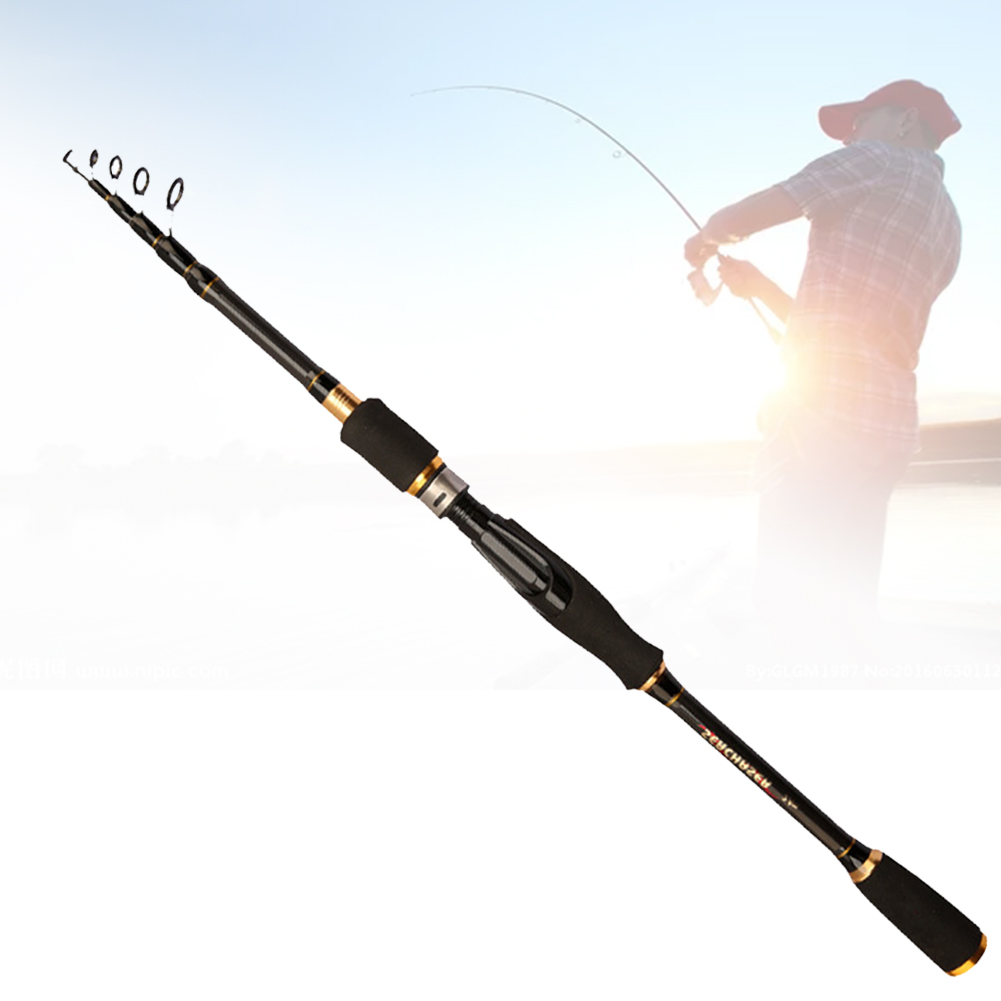 Fishing-Rod Carbon Retractable And Black To 180mm-270mm-Light Non-Slip-Wear Break-Wear