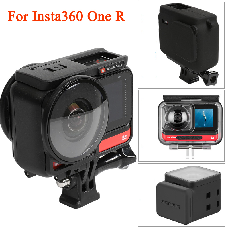 for Insta360 One R Accessories Panoramic Action Camera Lens Cover Silicone Case Waterproof Shell 4K Sports Protection Set