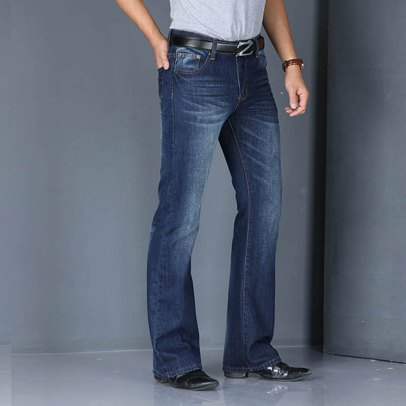 2020 Mens Business Casual Slim Bootcut Flared Jeans For Men Boot Cut Flare Denim Pants Long Trousers Men's Fashion Jeans Hombre